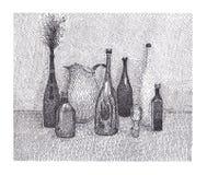 Todavía vida con una botella y un ramo Foto de archivo