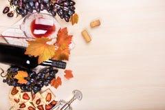 Todavía vida con una botella y un vidrio de vino rojo, de uvas y de chocolate con las fresas Imagen de archivo libre de regalías