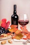 Todavía vida con una botella y un vidrio de vino rojo, de uvas y de chocolate con las fresas Foto de archivo libre de regalías