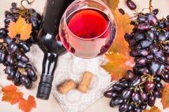 Todavía vida con una botella y un vidrio de vino rojo, de uvas y de chocolate con las fresas Imágenes de archivo libres de regalías