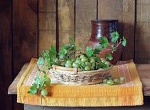 Todavía vida con una cesta de grosellas espinosas y de un jarro Fotografía de archivo