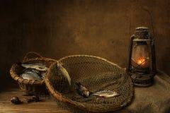 Todavía vida con una cesta de pescados, de caracoles y de linterna Fotografía de archivo