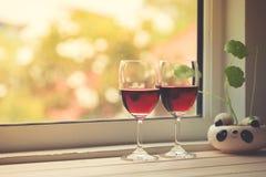 Todavía vida de copas de vino Foto de archivo libre de regalías
