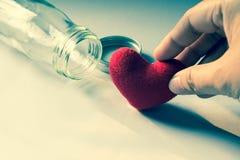 Todavía vida de la bolsita de la flor en la botella de cristal Imágenes de archivo libres de regalías