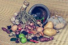 Todavía vida de la comida y de la verdura Fotografía de archivo libre de regalías