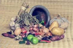 Todavía vida de la comida y de la verdura Imagen de archivo