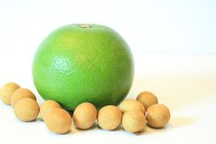 Todavía vida de la fruta apetitosa, piña, granada, limón, manzana, pera, kiwi, pomelo, longan, largo-kong Imagen de archivo libre de regalías