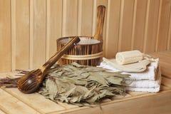 Todavía vida de los accesorios de un cuarto de baño del vapor Fotografía de archivo libre de regalías
