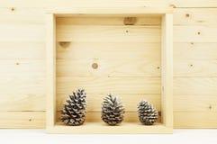 Todavía vida de los conos del pino con nieve en caja cuadrada de madera Imagen de archivo libre de regalías