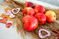 Todavía vida de manzanas maduras rojas en las espiguillas Imagenes de archivo