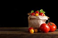 Todavía vida de tomates, del ajo y del perejil en los tableros de madera En un fondo negro Imágenes de archivo libres de regalías