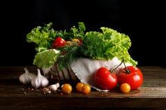 Todavía vida de tomates, del ajo y del perejil en los tableros de madera En un fondo negro Fotos de archivo