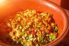 Todavía vida de una ensalada vegetal en un cuenco de la arcilla Imagen de archivo
