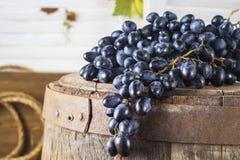 Todavía vida de uvas rojas en un barril de madera Imagenes de archivo