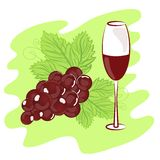 Todavía vida de uvas y de un vidrio Imagenes de archivo