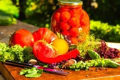 Todavía vida de verduras adobadas y frescas Fotografía de archivo