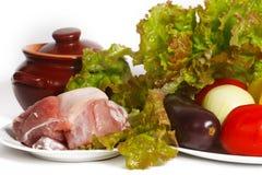 Todavía vida de verduras y de la carne Imágenes de archivo libres de regalías