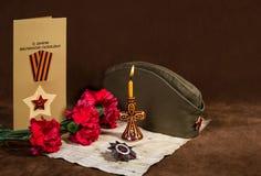 Todavía vida dedicada a Victory Day 9 pueden Imágenes de archivo libres de regalías