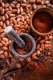 Todavía vida del cacao de tierra Fotos de archivo libres de regalías