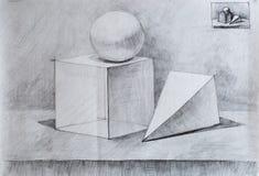 Todavía vida, dibujo de lápiz para usted foto de archivo libre de regalías