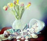Todavía vida, flores de la primavera, cáscaras y bufandas de seda Fotografía de archivo libre de regalías
