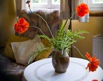 Todavía vida, la amapola roja florece en florero en la mesa redonda Fotografía de archivo