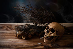 Todavía vida que fuma el cráneo humano con el cigarrillo en la tabla de madera Imagen de archivo