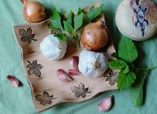 Todavía vida - verdura e hierbas para la salud - bálsamo del ajo, de la cebolla, del apio y de limón Foto de archivo libre de regalías