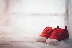 Todavía zapatos rojos del pequeño bebé ascendente cercano de la vida con los wi preciosos de la mañana Fotografía de archivo libre de regalías