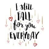 Todavía cae para usted la tarjeta diaria de la caligrafía del amor Fotografía de archivo