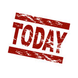Today. Stylized red stamp showing the term today. All on white background stock illustration