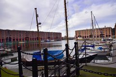 The Albert Dock is a complex of dock buildings and warehouses in Liverpool, England. Stock Images