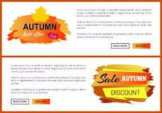 Only Today Autumn Sale -35 Advert Promo Poster. Autumn big sale 2017 special price -15 advetr promo posters with labels and place for text, web page design with Stock Photo