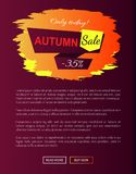 Only Today Autumn Sale -35 Advert Promo Poster. Only today autumn sale -35 advetr promo poster with label and place for text, web page design with informative Stock Photo