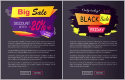 Only Today - 35 off Black Sale Friday Promo Label. Only today big sale discount offer - 35 , -25 off Black Friday promotional web labels abstract geometric Stock Photography