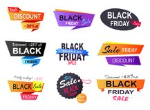 Only Today -35 Black Friday Vector Illustration. Only today -35 discount, poster that represents sales made by shops during black Friday, set of stickers on Royalty Free Stock Image