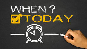 When?today. On blackboard background royalty free illustration