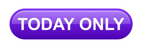 Today only button. Simple vector illustration of today only web purple button icon on white background royalty free illustration