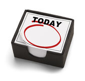 Today Calendar. Box Calendar with Today on it and a Red Empty Circle Isolated on White Background stock image