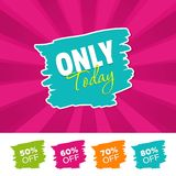 Only today color banner and 50%, 60%, 70% & 80% Off Marks. Vector illustration. Only today color banner and 50%, 60%, 70% & 80% Off Marks. Eps10 Vector Royalty Free Stock Image