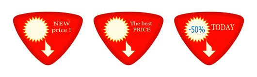 Today - Discount - New - Best - Price - 45. A triangular sign-pointer for prices, stocks and discounts, is red with white and yellow figures. The image has three Royalty Free Stock Photo