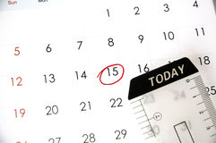 Today is fifteen. Today tag on date fifteen with red mark royalty free stock photo