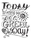Today is going to be a great good day art doodle. Sun Bee drawing lettering logo stock illustration