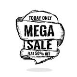 Big super sale, flat 50 off. Vector illustration. Today Only Mega Sale banner. Big super sale, flat 50 off. Vector illustration. shopping,  sign,  sketches Stock Photography