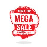 Big super sale, flat 50 off. Vector illustration. Today Only Mega Sale banner. Big super sale, flat 50 off. Vector illustration. shopping,  sign,  sketches Stock Photo