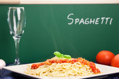 Today is on the menu spaghetti milanese Stock Photography