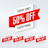 Today only, one day super sale banner. One day deal, special offer, big sale, clearance stock illustration