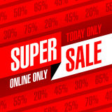 Today and online only Super Sale banner Royalty Free Stock Photo