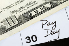 Today is the pay day of the month. The end of the month is the pay day Royalty Free Stock Photos