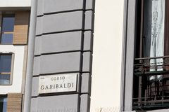 Milan - Street sign, Corso Garibaldi,  marble panel with the road name. Lombardy Italy royalty free stock photos
